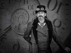 Lord of Time (Chris Willis 10) Tags: portrait white man black clock monochrome mono model punk time lord steam moustache actor effect gent gentleman dapper droste