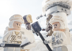 Why do those two never have to dig trenches? (tomtommilton) Tags: snow macro toys starwars funny lego digging humour soldiers chewbacca hansolo hoth rebels grunts trenches toyphotography