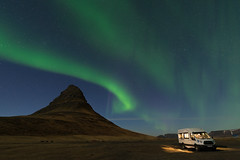 Aurora Borealis over Kirkjufell with the van (Goldsaint) Tags: travel light sky mountain green tourism nature beautiful night landscape lights star solar iceland scenery glow natural outdoor miracle background north landmark arctic aurora astronomy van polar northern kirkjufell magnetic borealis phenomenon snaefell