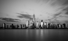 76 seconds (Jim | jld3 photography) Tags: new york city nyc longexposure bw white motion black skyline clouds buildings photography nikon cityscape skyscrapers manhattan district worldtradecenter 110 filter 24mm financial d800 freedomtower 14g jld3
