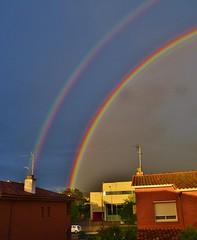 Un pont entre el cel i la Terra. (josepponsibusquet.) Tags: colors arcoiris lluvia salt cel natura catalonia colores cielo catalunya catalua pluja girons arcdesantmart meteorologic