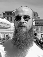 Bearded Guy (J Wells S) Tags: bw monochrome sunglasses beard cincinnati otr washingtonpark overtherhine candidportrait cityflea candidblackandwhiteportrait