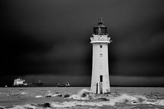 Stormy Perch Rock 3 (another_scotsman) Tags: blackandwhite lighthouse seascape monochrome stormy newbrighton perchrock