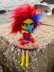 tiki (cybermelli) Tags: red bird fur doll dress beak parrot wig blythe custom tiki blythephotos blytheandthecity