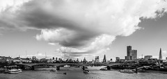Waterloo Bridge | The Wide View (James_Beard) Tags: city london thames skyline clouds blackwhite cityscape skyscrapers shard cityoflondon waterloobridge londonskyline sonyrx100m3