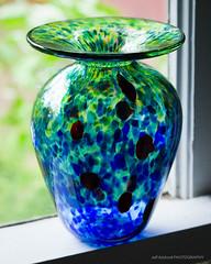 Window Cill Trial (Jeff Addicott) Tags: blue macro green window glass bokeh sony handheld vase dots product 90mm glassart cill
