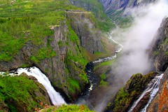 Where Waterfalls meander dawn through the rocks (mark.paradox) Tags: travel mist nature water colors beauty norway rock landscape waterfall view hike mount trail valley hordaland    vringfossen    scenicsnotjustlandscapes  lookgold