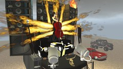 The Doof Cellist (alexandriabrangwin) Tags: world road party max silly cars 6x6 truck computer hair fire skull mercedes evening 3d buick high concert graphics war funny long dress desert cattle cosplay banner flame secondlife virtual cello rig zephyr lincoln heels warrior trucks tribute gown elegant mad speakers flaming fury amg doof cgi roadmaster thrower sendup g63 alexandriabrangwin