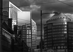 Dooms day in The Hague (zilverbat.) Tags: wallpaper bw holland monochrome dutch architecture modern clouds photography lights blackwhite europa noir shadows image zwartwit postcard thenetherlands denhaag elements innercity blanc thehague architectuur blackandwhitephotography lahaya lahaye hofstad kalvermarkt blackwhitephotos zwartwitfotografie hofstijl zilverbat hoogbouwarchitecture