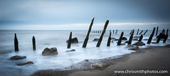 Wooden groynes (chrissmithphotos1) Tags: ocean sea white seascape abstract black bird beach nature water birds landscape evening coast scenery rocks long exposure time background scenic scottish calm coastal shore groyne minimalist tranquil groynes