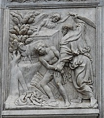 """Isaac's sacrifice"" (1425-1438) by Iacopo della Quercia (Siena about 1374-Siena 1438) - Portal of San Petronio Church in Bologna (* Karl *) Tags: italy bologna portal sanpetronio jacopodellaquercia isaacssacrifice"