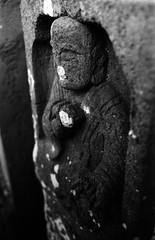 (concealed slumber) (Dinasty_Oomae) Tags: blackandwhite monochrome statue blackwhite chiba  jizo exakta funabashi     ihagee    stonebuddhistimage exaktavarex    vx