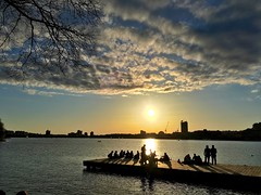Sunset over the Charles River in Boston ((Jessica)) Tags: sunset people water boston dock massachusetts charlesriver silhouettes newengland esplanade pw iphone