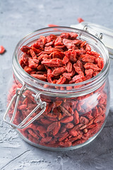 Dried goji berries in a jar (Arx0nt.) Tags: red food white plant detail macro closeup fruit vegan healthy berry raw berries natural sweet background chinese culture dry spoon bowl health pile snack vegetarian jar medicine tibetan organic diet spill heap herbal medicinal nutrition nutritious ingredient superfood goji wolfberry antioxidant nutritional