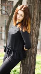 Bra (kaddafi210) Tags: city light portrait urban black girl look vintage town spring dress photoshoot czech prague samsung praha retro redhead m42 ddr czechrepublic gdr 1850 vtkov zizkov carlzeissjena pancolar pancolar1850 oldlens czechgirl ausjena nx210
