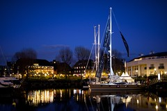 Refection and the blue hour: St. Katharine Docks, London (JN Singh) Tags: reflection london waterfront nightshot nightphoto bluehour sigma50mm katharinedocks nikond800