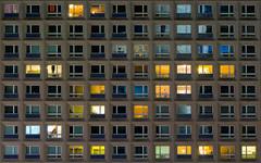 Berlin Nightlife (Ulmi81) Tags: berlin architecture night dark lights evening abend nacht plattenbau olympus flats alexanderplatz architektur symmetric ft nightlife lighter zuiko appartment dunkel omd dunkelheit em1 nachtleben glittering wohnungen hausfront 1454 symmetrisch aufregend