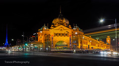 Flinders Street Station, Melbourne (trevorjphotography) Tags: longexposure people heritage cars clock station night train lights traffic famous tram australia melbourne wideangle landmark victoria dome historical flindersstreetstation intersection lighttrails iconic motiontrails ef1740mmf4lusm canoneos5dmarkii
