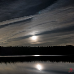 By the Light of the Silvery Moon (Mitymous) Tags: longexposure moon night clouds moonrise moonlight tullylake reflecctions zeiss21 spring2016