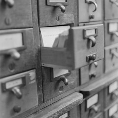 Copley Library_20150810_005 (falconn67) Tags: old bw history mamiya film boston blackwhite library pinkfloyd historic 120film drawer bostonpubliclibrary copley reference publiclibrary cardcatalogue copleysq c330