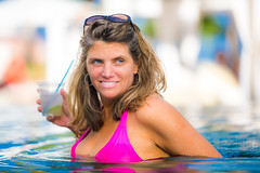 Pink and Blue (Thomas Hawk) Tags: vacation hot sexy pool beautiful mexico hotel cabo pretty julia gorgeous hilton spouse babe resort swimmingpool cocktail bikini fox wife margarita hottie lovely poolside cabosanlucas loscabos juliapeterson fav10 fav25 hiltonloscabos mrsth