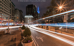 Fifth and Broadway (DSC04470) (Michael.Lee.Pics.NYC) Tags: longexposure newyork architecture night cityscape sony broadway esb empirestatebuilding lighttrails fifthavenue traffictrails flatirondistrict voigtlanderheliar15mmf45 a7rm2