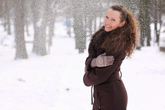 Lady In Snow (jnm_ua) Tags: trees winter portrait woman white snow smile hair outdoors happy snowflakes alley joy peaceful irene citypark deepbrown ladyinsnow