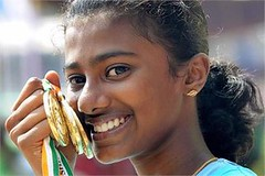 Kozhikode: Lisbath Karolin Jose of Kerala poses with her gold medals during the 61st National School Athletics Championship (legend_news) Tags: school gold during championship athletics with jose kerala her national poses medals 61st kozhikode karolin lisbath