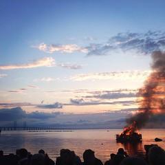 You light the spark in my bonfire heart (cecilialaursen) Tags: ocean bridge sunset beach water clouds landscape fire cloudy dusk bonfire malm valborg resundsbron 2015 valborgsmssoafton
