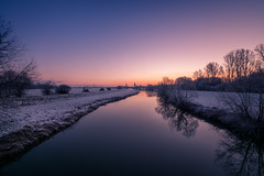 frozen morning lights (krwlms) Tags: morning winter light snow cold ice water sunrise reflections river germany frozen angle sony wide bad freezing sigma autobahn filter nrw kalt a30 lhne werre oeynhausen gohfeld