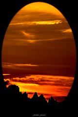 Naissance du Crpuscule n1 (Frdric Fossard) Tags: orange art jaune montagne alpes rouge noir lumire horizon ciel contraste nuage paysage soir crpuscule vignettage couleur coucherdesoleil oeuf cime clart abstrait hautesavoie surraliste crtes luminosit artes bordurephoto