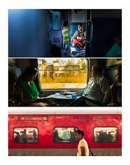 Triptyque Train mini (loret.nicolas) Tags: train jaune rouge fuji couleurs bleu triptyque newdelhi inde x100 x100t