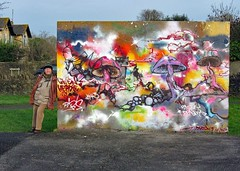 Welsh Mill Wall Art (john atte kiln) Tags: park uk winter england color colour castle art public wall painting mushrooms graffiti colorful paint unitedkingdom britain drawing bubbles wallart somerset wintercoat woollyhat knight colourful trunks leaning frome manleaning welshmill
