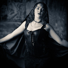 Stephanie S Second Solo 5-17 (Jonathan Frings) Tags: leather model redhead topless cape backdrop