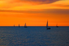 2 + 3 sailboats at sunset - Tel-Aviv beach (Lior. L) Tags: travel blue sunset sea sky orange beach nature weather canon israel telaviv mediterranean sailing seascapes silhouettes tranquility telephoto beaches orangesky sailboats canondslr tranquil mediterraneansea telephotolens canon70200f4l greatweather wonderfulnature orangesunset awesomenature telavivbeach tranquilwater sailingatsunset canon600d travelinisrael canont3i canonkiss5 sailingatsunsettelavivbeach 5sailboats