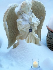 Angel in the snow (brooksbos) Tags: snow love statue angel geotagged memorial heaven candle peace rip prayer son panasonic prayers brooks dmczs5 brooksbos