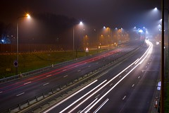 A406 North Circular, Conley Hatch (LFaurePhotos) Tags: life road longexposure urban london weather misty night lights outdoor foggy a406 vehicles freeway lighttrails northlondon londonatnight northcircularroad londonboroughofbarnet conleyhatch
