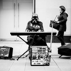 hard times in the galaxy far far away (gabor images) Tags: street city ireland people urban music dublin woman man blackwhite starwars walk candid streetphotography fujifilm darthvader hardtimes streetsofdublin gaborimages fujixt1