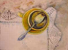 Se acab el caf (benilder) Tags: stilllife coffee caf watercolor casa aquarelle watercolour acuarela bodegon naturemorte cuchara