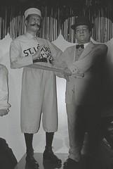 Abbott & Costello (goodfella2459) Tags: white black film museum analog 35mm nikon san francisco 400 plus hp5 wax abbott milf ilford costello f55