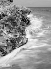 Coquina Rocks and Wave, Blowing Rocks Preserve, Hobe Sound, Florida (39239-BW) (John Bald) Tags: beach florida wave jupiter natureconservancy jupiterisland coquina blowingrocks crashingwave hobesound blowingrockspreserve coquinarocks