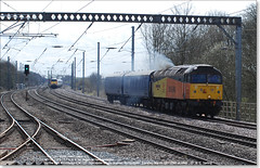 47739 'Robin of Templecombe' works north through Huntingdon with 2 Barrier Vans, March 29th 2016 a (Bristol RE) Tags: 1615 huntingdon colas 6378 6379 45201 47035 47739 d1615 47594 robinoftemplecombe colasrailfreight