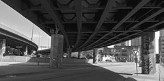 Brian_Artistic Overpass Support 2 BW_050313_2D (starg82343) Tags: road city bridge urban blackandwhite bw concrete blackwhite md highway downtown overpass maryland monotone baltimore hwy grayscale 2d supports brianwallace roadsystem
