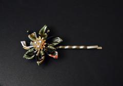 green kiku bobbypin (1) (Bright Wish Kanzashi) Tags: original flower handmade clip hairpin kanzashi tsumamizaiku