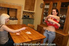 Courtney & Jessie play Strip Pontoon (j) (StripGameCentral Ed) Tags: girls game kitchen jessie fun cards women 21 loser courtney cheeky blonde winner brunette stripping pontoon undressing stripgame