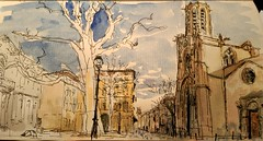 Saint-sauveur au petit matin, Aix-en-Provence (velt.mathieu) Tags: sketch urbansketchers croquis provence watercolor morning light mathieu velt mathieuvelt