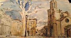 Saint-sauveur au petit matin, Aix-en-Provence (velt.mathieu) Tags: morning light watercolor sketch provence mathieu croquis velt urbansketchers