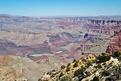 Grand Canyon and the Colorado River (Explored-Thanks so much) (outdoorpict) Tags: blue red sky green water river colorado rocks grandcanyon cutting winding shrubs timeless vast