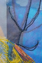 Yellow bird (Mnica Leito Mota) Tags: trees bird yellow paper mixedmedia fabric fiberart textileart