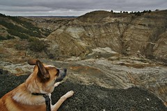 Solitude at Devils Pass - Billings County, ND (MinnKota Railfan) Tags: cloud dog storm face rock clouds butte moody faces head devils hey bad pass stormy trail sediment badlands lands daah maah
